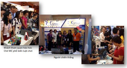 Một số hình ảnh khách tham gia trò chơi có giải thưởng tại gian hàng của MK Smart