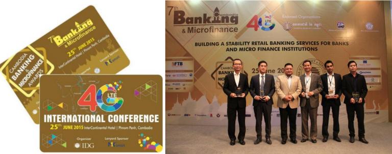 MK Smart là nhà tài trợ thẻ cho sự kiện 4G/LTE - Banking Cambodia / CEO MK Smart lên nhận kỷ niệm chương của hội thảo