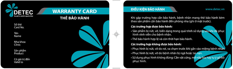 in thẻ bảo hành detec